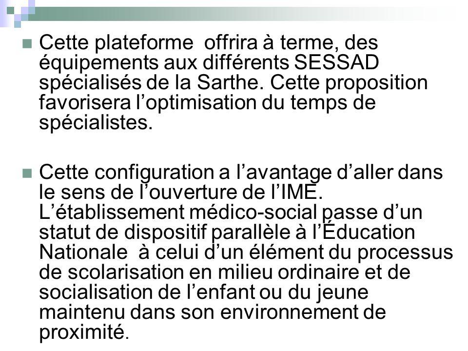 Cette plateforme offrira à terme, des équipements aux différents SESSAD spécialisés de la Sarthe. Cette proposition favorisera loptimisation du temps