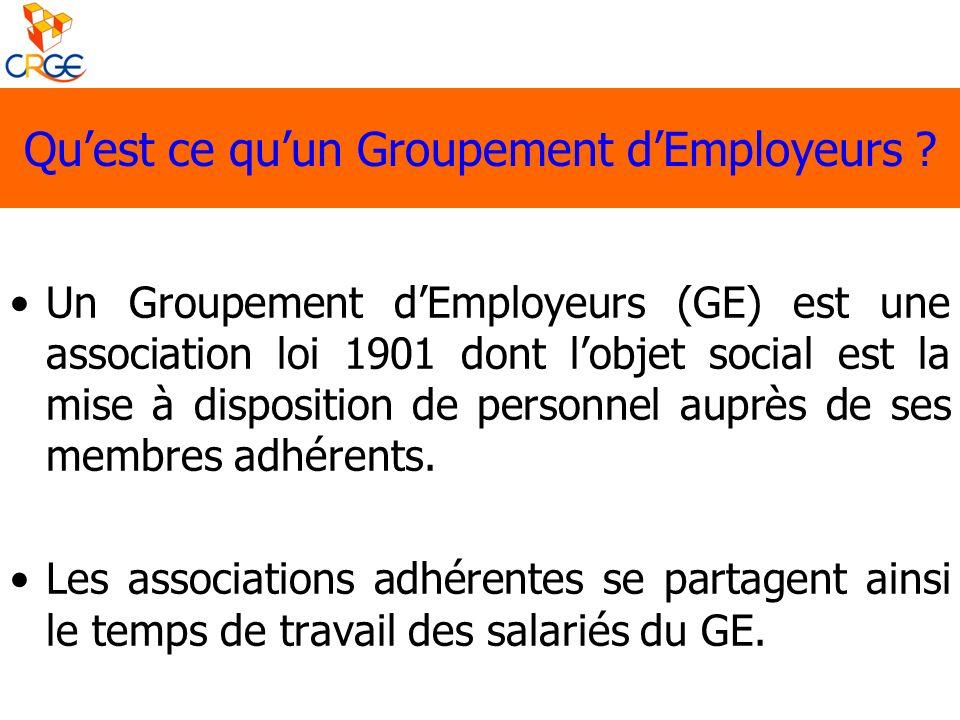 Un Groupement dEmployeurs (GE) est une association loi 1901 dont lobjet social est la mise à disposition de personnel auprès de ses membres adhérents.