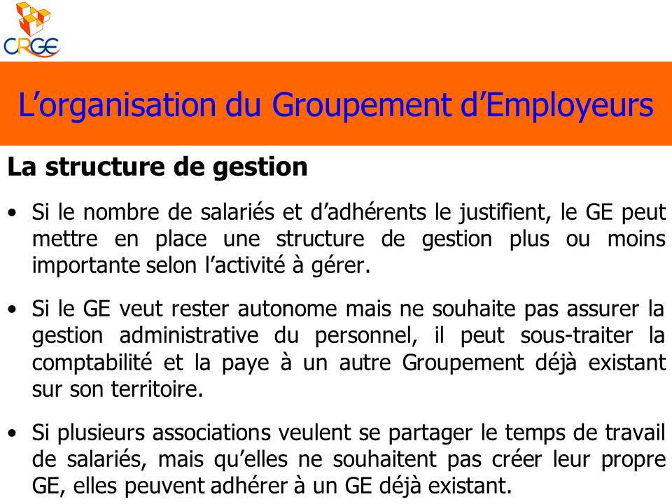 La structure de gestion Si le nombre de salariés et dadhérents le justifient, le GE peut mettre en place une structure de gestion plus ou moins import