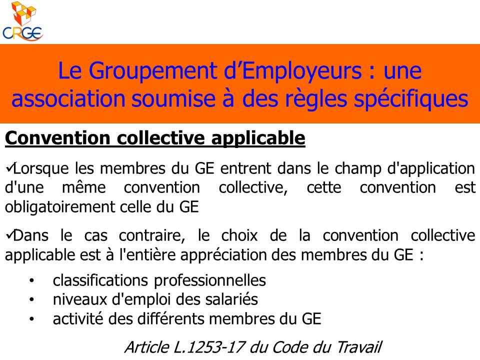 Le Groupement dEmployeurs : une association soumise à des règles spécifiques Convention collective applicable Lorsque les membres du GE entrent dans l