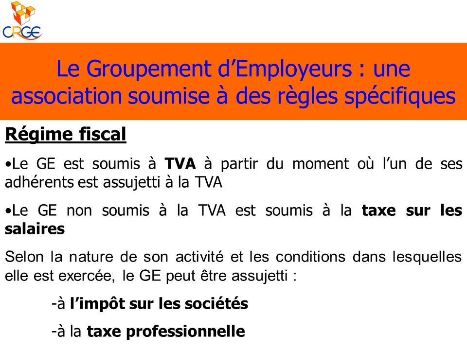 Le Groupement dEmployeurs : une association soumise à des règles spécifiques Régime fiscal Le GE est soumis à TVA à partir du moment où lun de ses adh