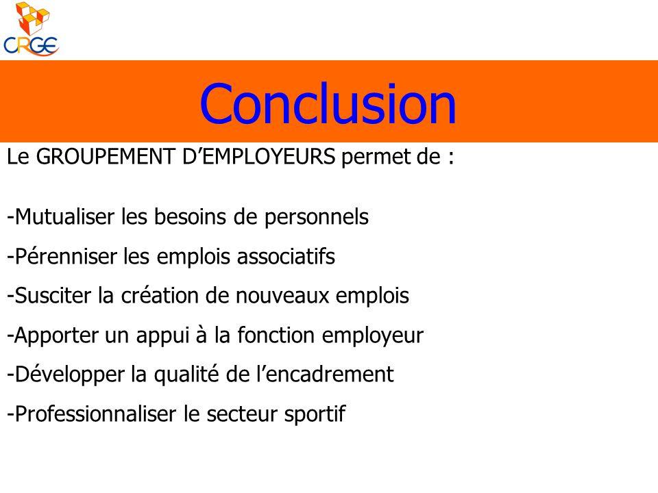 Conclusion Le GROUPEMENT DEMPLOYEURS permet de : -Mutualiser les besoins de personnels -Pérenniser les emplois associatifs -Susciter la création de no
