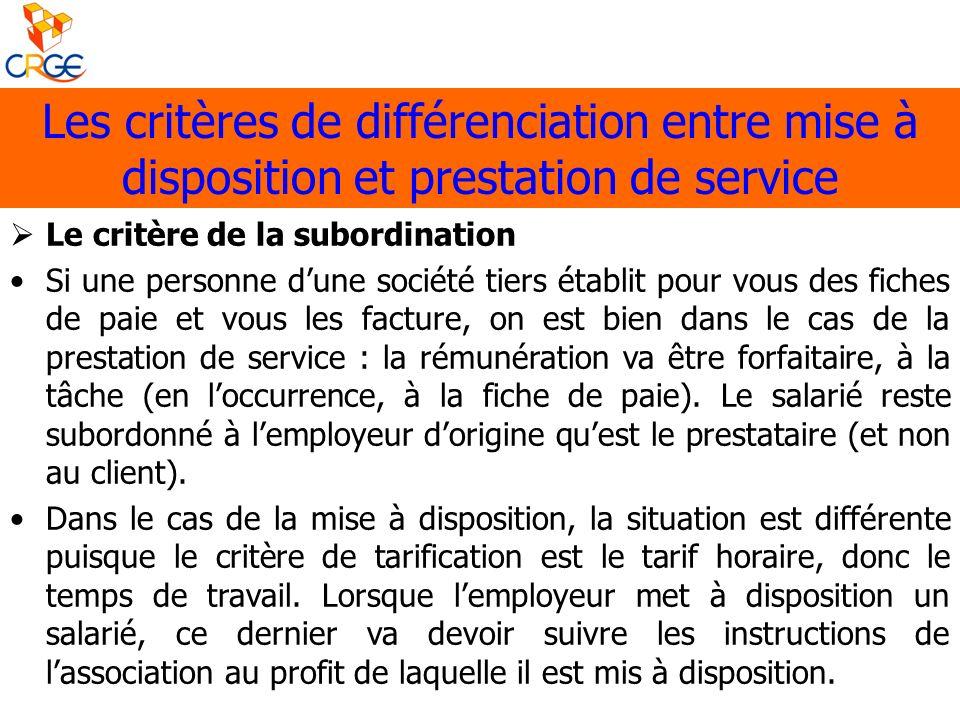 Les critères de différenciation entre mise à disposition et prestation de service Le critère de la subordination Si une personne dune société tiers ét