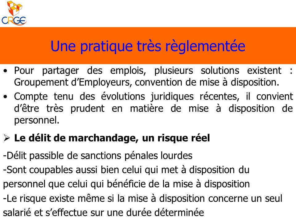 Pour partager des emplois, plusieurs solutions existent : Groupement dEmployeurs, convention de mise à disposition. Compte tenu des évolutions juridiq
