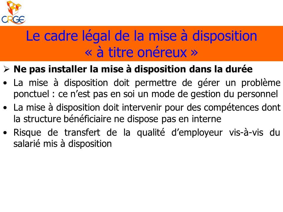 Le cadre légal de la mise à disposition « à titre onéreux » Ne pas installer la mise à disposition dans la durée La mise à disposition doit permettre