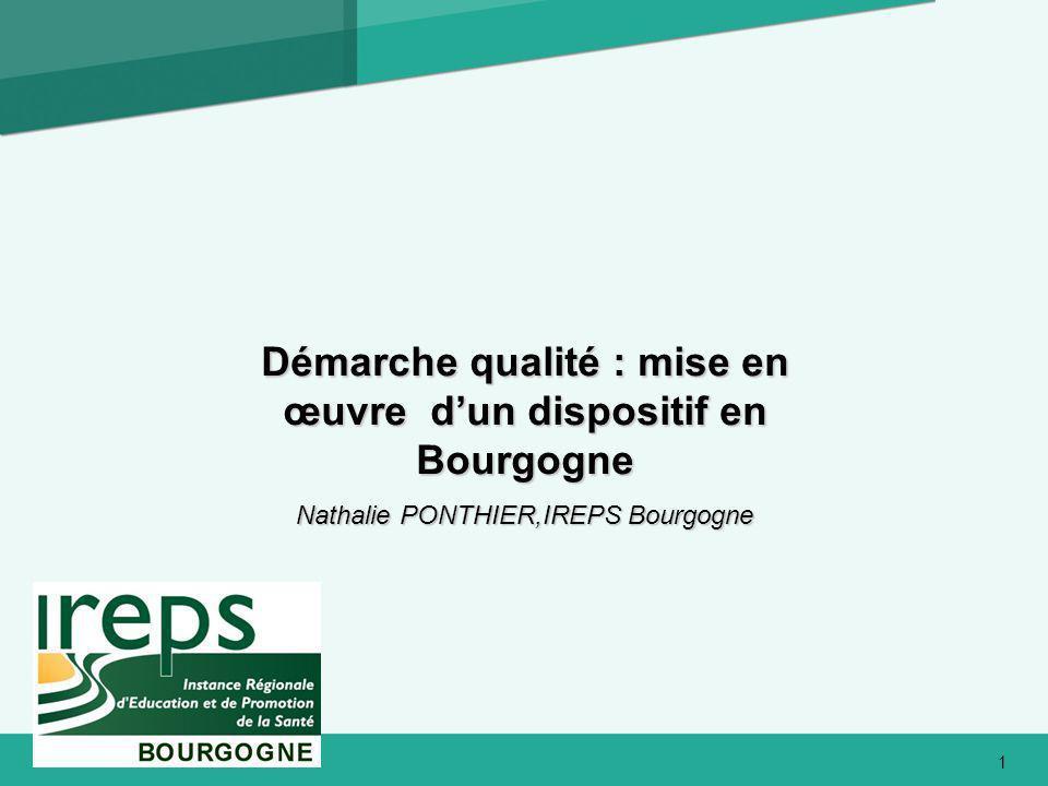 Démarche qualité : mise en œuvre dun dispositif en Bourgogne Nathalie PONTHIER,IREPS Bourgogne 1