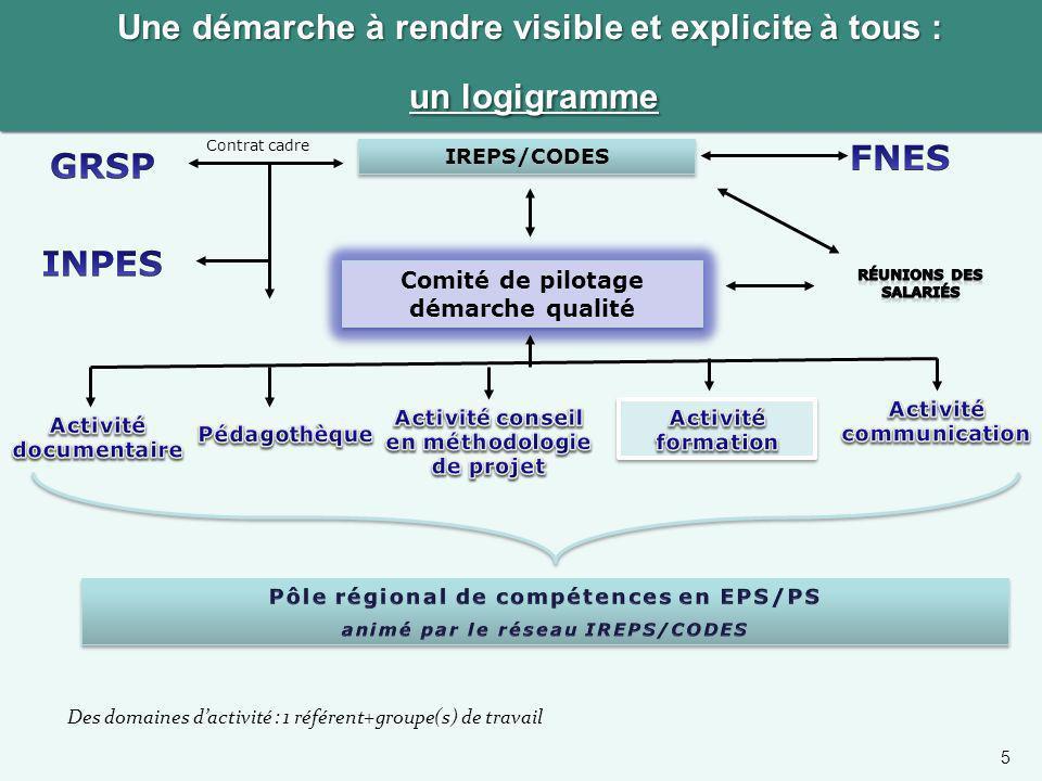 IREPS/CODES Comité de pilotage démarche qualité Contrat cadre Des domaines dactivité : 1 référent+groupe(s) de travail Une démarche à rendre visible e