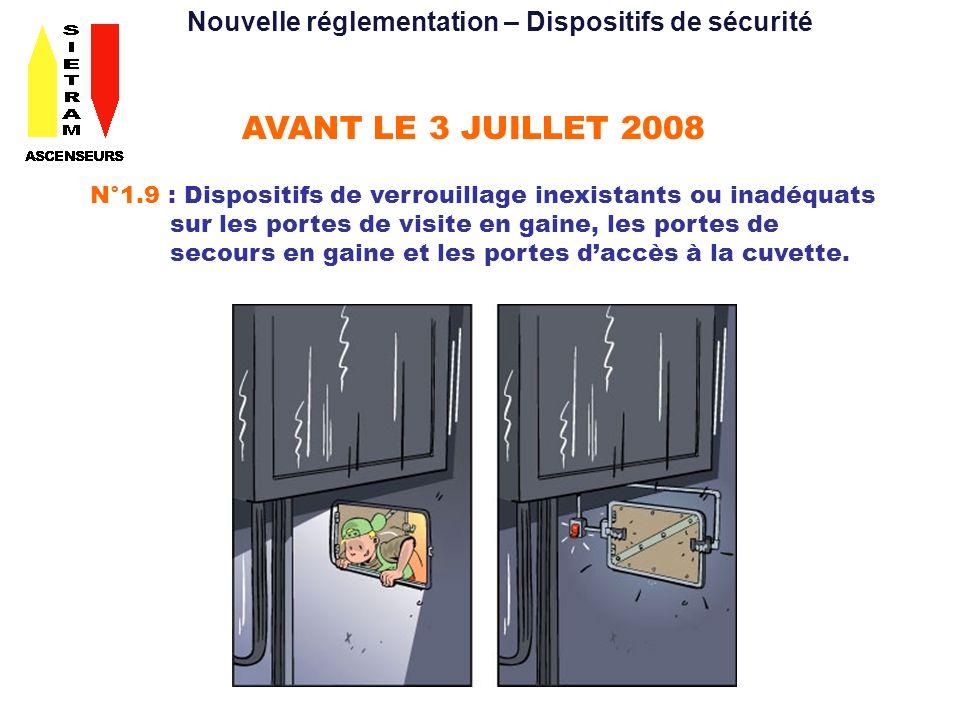 AVANT LE 3 JUILLET 2008 N°1.9 : Dispositifs de verrouillage inexistants ou inadéquats sur les portes de visite en gaine, les portes de secours en gaine et les portes daccès à la cuvette.