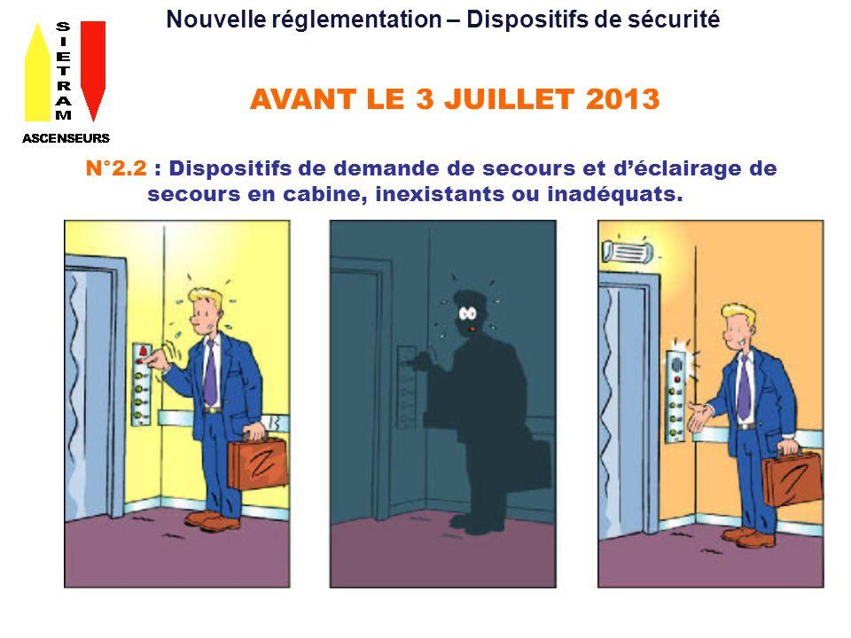 AVANT LE 3 JUILLET 2013 N°2.2 : Dispositifs de demande de secours et déclairage de secours en cabine, inexistants ou inadéquats. Nouvelle réglementati