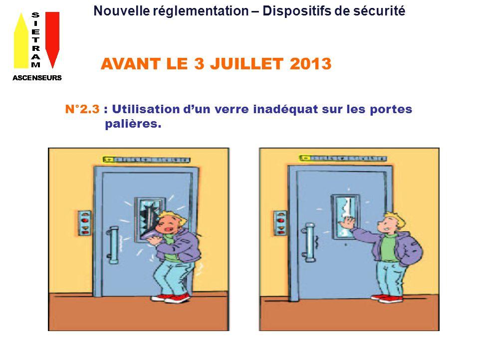 AVANT LE 3 JUILLET 2013 N°2.3 : Utilisation dun verre inadéquat sur les portes palières. Nouvelle réglementation – Dispositifs de sécurité
