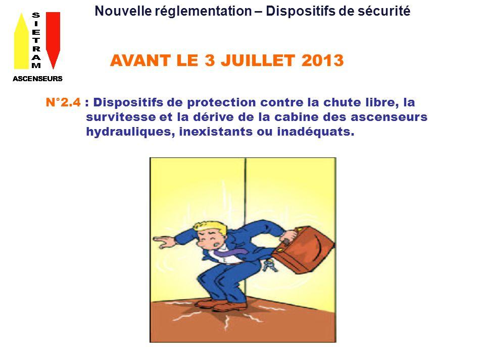 AVANT LE 3 JUILLET 2013 N°2.4 : Dispositifs de protection contre la chute libre, la survitesse et la dérive de la cabine des ascenseurs hydrauliques,