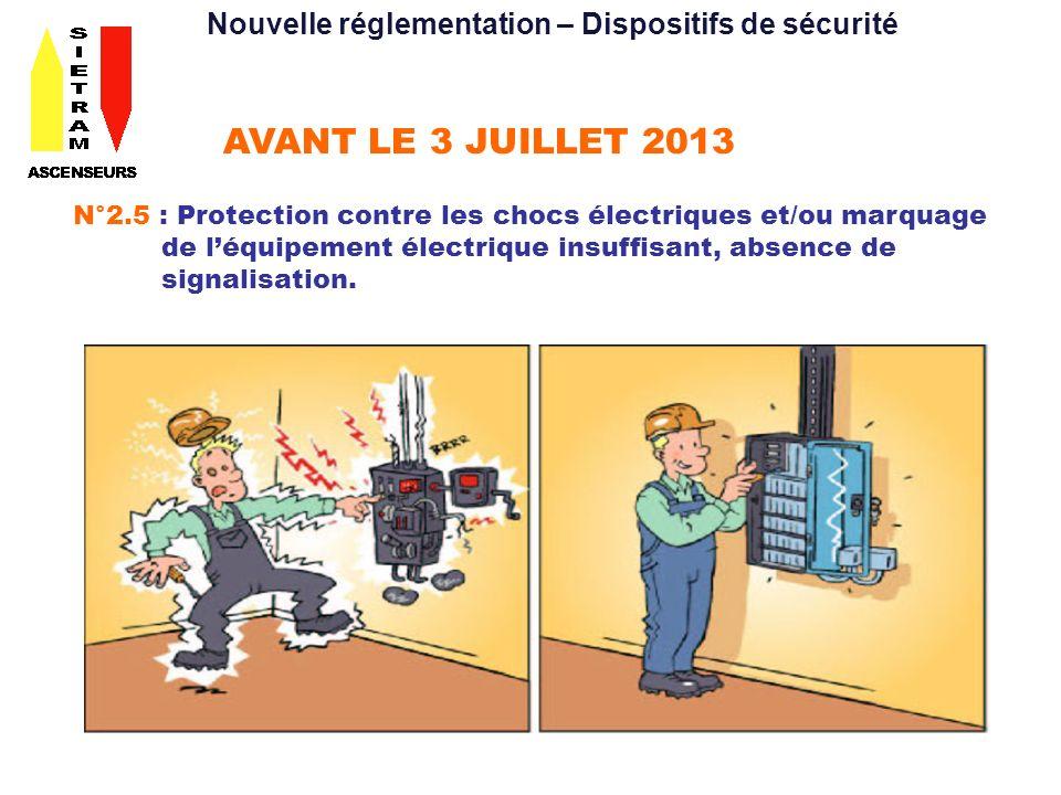 AVANT LE 3 JUILLET 2013 N°2.5 : Protection contre les chocs électriques et/ou marquage de léquipement électrique insuffisant, absence de signalisation.