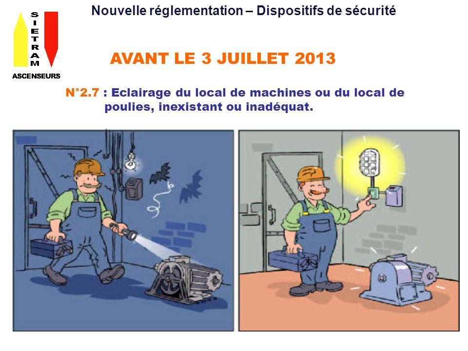 AVANT LE 3 JUILLET 2013 N°2.7 : Eclairage du local de machines ou du local de poulies, inexistant ou inadéquat. Nouvelle réglementation – Dispositifs
