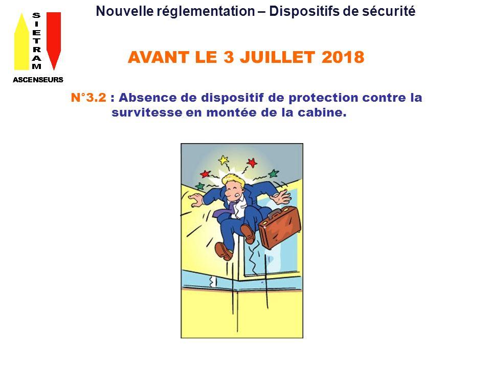 AVANT LE 3 JUILLET 2018 N°3.2 : Absence de dispositif de protection contre la survitesse en montée de la cabine.