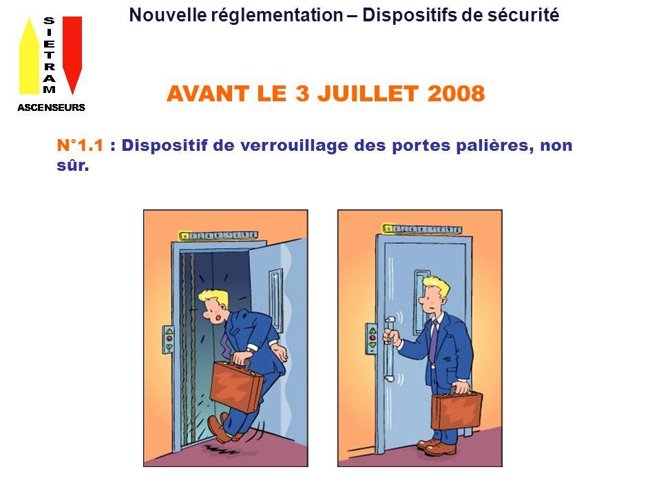 AVANT LE 3 JUILLET 2008 N°1.1 : Dispositif de verrouillage des portes palières, non sûr.