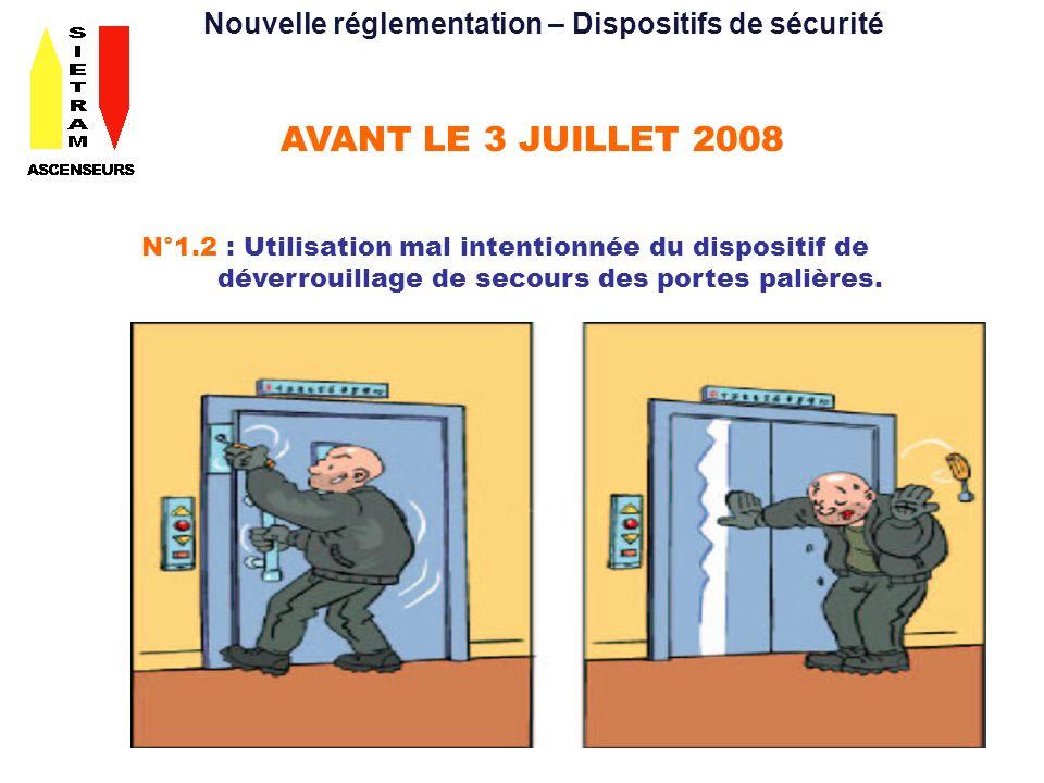 AVANT LE 3 JUILLET 2008 N°1.3 : Portes automatiques cabine et palières avec dispositif de protection contre les chocs, inexistant ou inadéquat.
