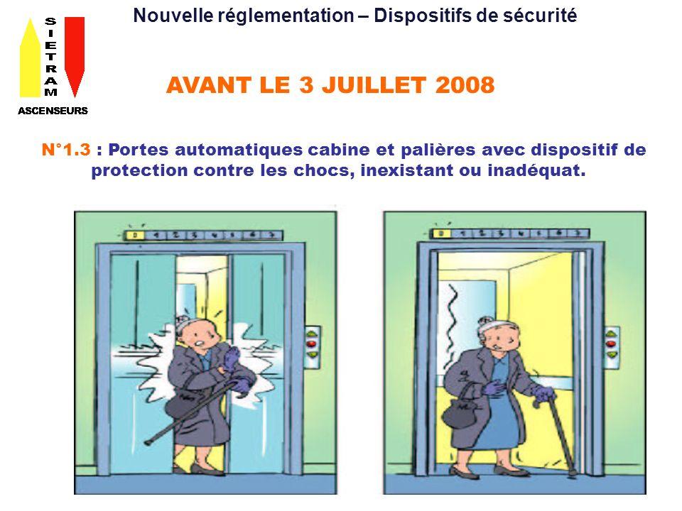 AVANT LE 3 JUILLET 2013 N°2.4 : Dispositifs de protection contre la chute libre, la survitesse et la dérive de la cabine des ascenseurs hydrauliques, inexistants ou inadéquats.