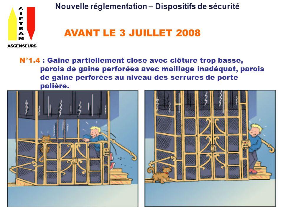 AVANT LE 3 JUILLET 2008 N°1.4 : Gaine partiellement close avec clôture trop basse, parois de gaine perforées avec maillage inadéquat, parois de gaine perforées au niveau des serrures de porte palière.
