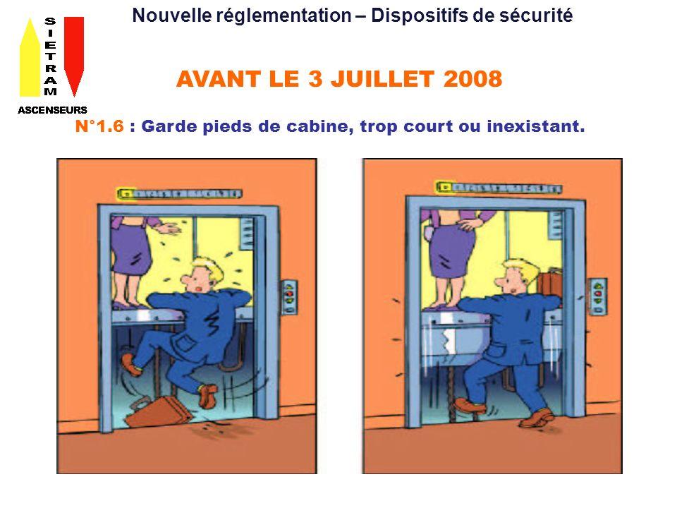 AVANT LE 3 JUILLET 2008 N°1.6 : Garde pieds de cabine, trop court ou inexistant. Nouvelle réglementation – Dispositifs de sécurité