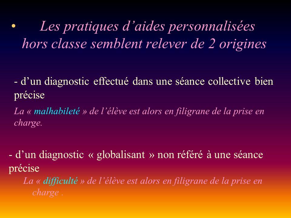 Les pratiques daides personnalisées hors classe semblent relever de 2 origines - dun diagnostic effectué dans une séance collective bien précise La «