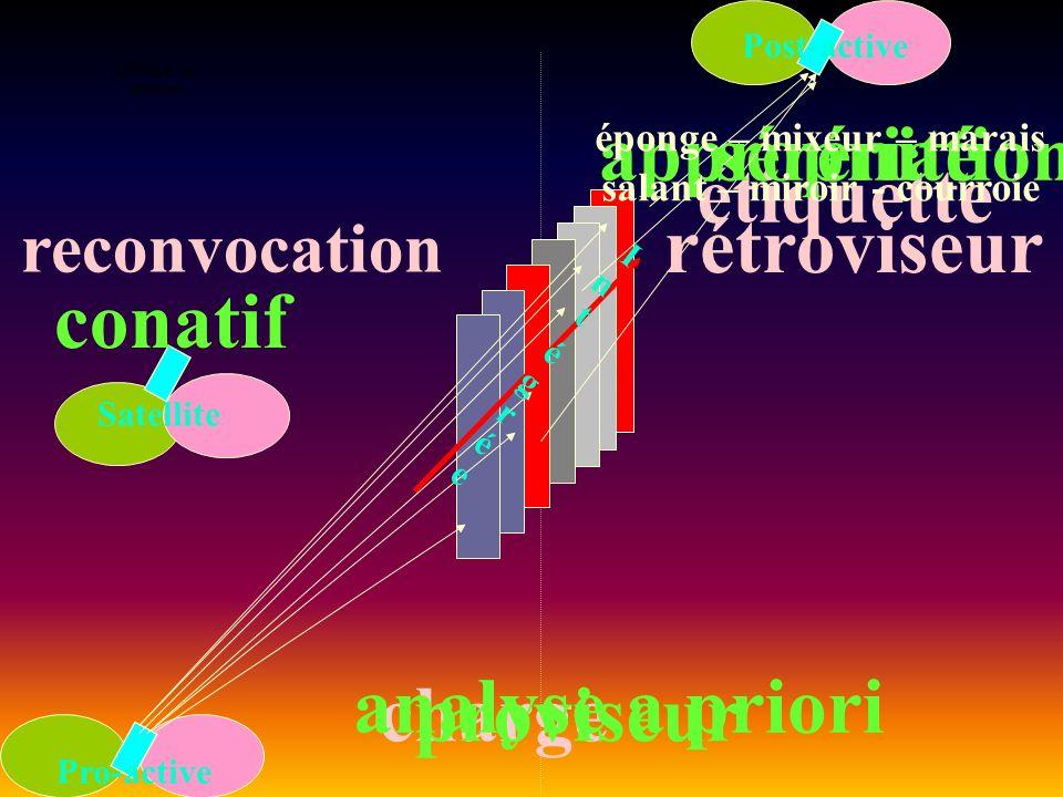 ENTREE en situation Pro-active Post-active Satellite chargeproviseur analyse a priori sérénité étiquette conatif reconvocation appropriation éponge – mixeur – marais salant – miroir - courroie rétroviseur IntégréeIntégrée
