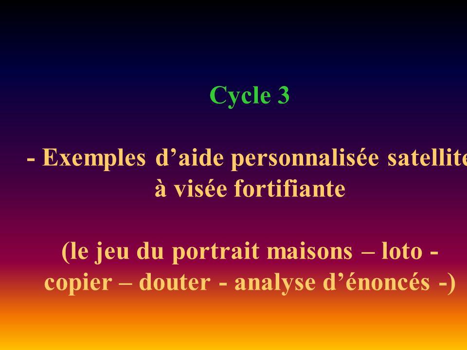 Cycle 3 - Exemples daide personnalisée satellite à visée fortifiante (le jeu du portrait maisons – loto - copier – douter - analyse dénoncés -)