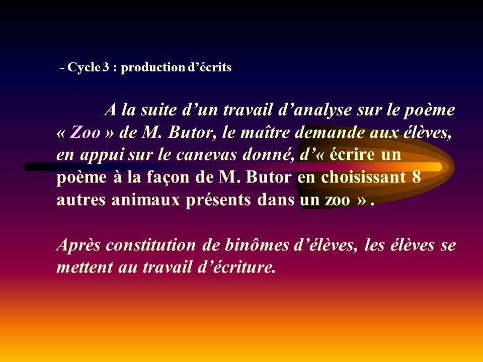 - Cycle 3 : production décrits A la suite dun travail danalyse sur le poème « Zoo » de M. Butor, le maître demande aux élèves, en appui sur le canevas