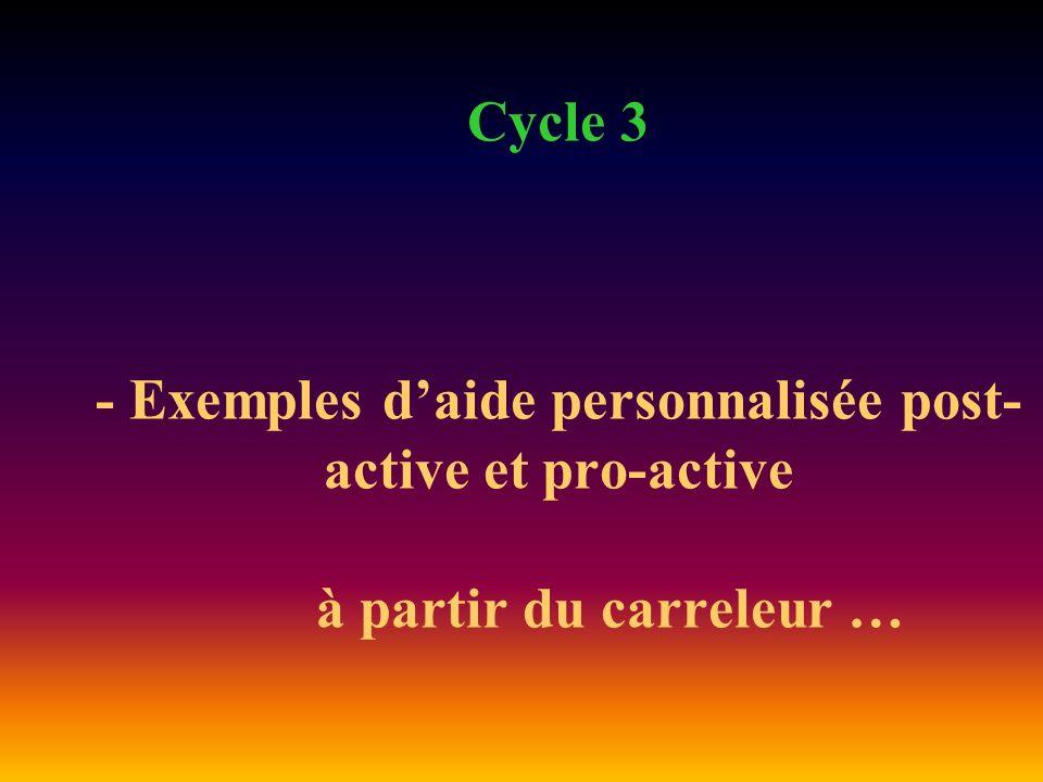 Cycle 3 - Exemples daide personnalisée post- active et pro-active à partir du carreleur …