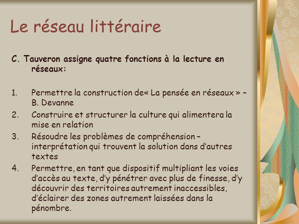 Le réseau littéraire C. Tauveron assigne quatre fonctions à la lecture en réseaux: 1.Permettre la construction de« La pensée en réseaux » – B. Devanne