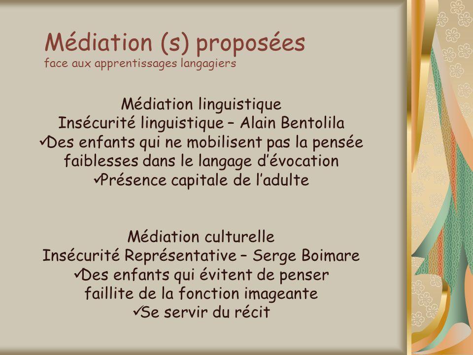 Médiation (s) proposées face aux apprentissages langagiers Médiation linguistique Insécurité linguistique – Alain Bentolila Des enfants qui ne mobilis