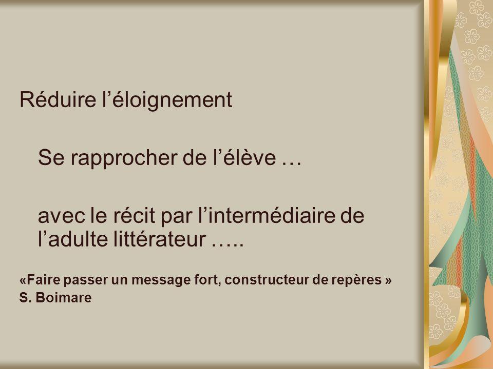 Réduire léloignement Se rapprocher de lélève … avec le récit par lintermédiaire de ladulte littérateur ….. «Faire passer un message fort, constructeur