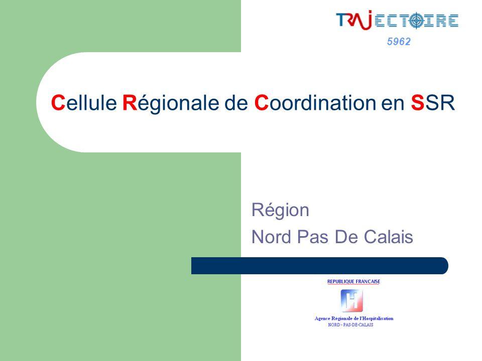 5962 Cellule Régionale de Coordination en SSR GOUVERNANCE : cellule de coordination régionale mettre en œuvre et déployer loutil « Trajectoire » et ses évolutions; informer tous les acteurs; former les relais de terrain;