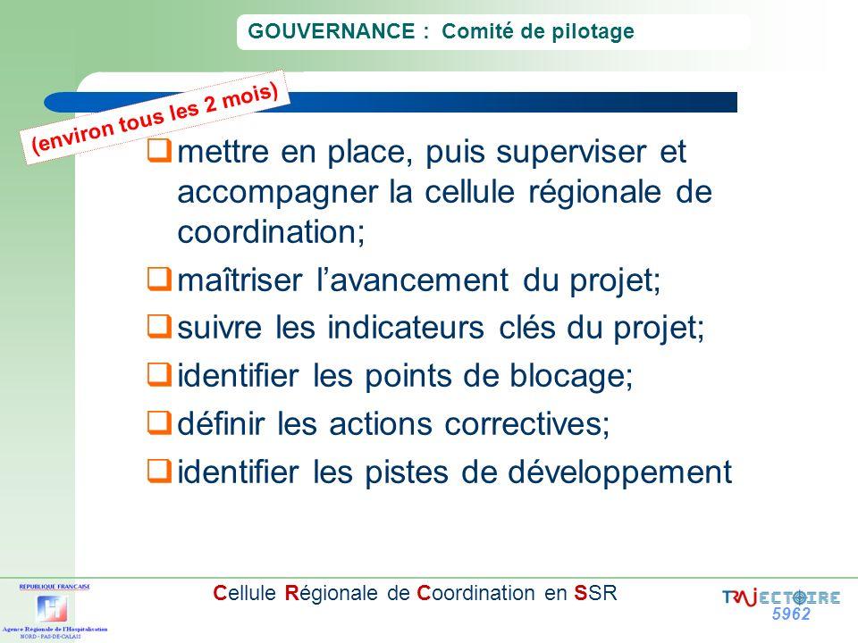 5962 Cellule Régionale de Coordination en SSR GOUVERNANCE : Comité de pilotage mettre en place, puis superviser et accompagner la cellule régionale de