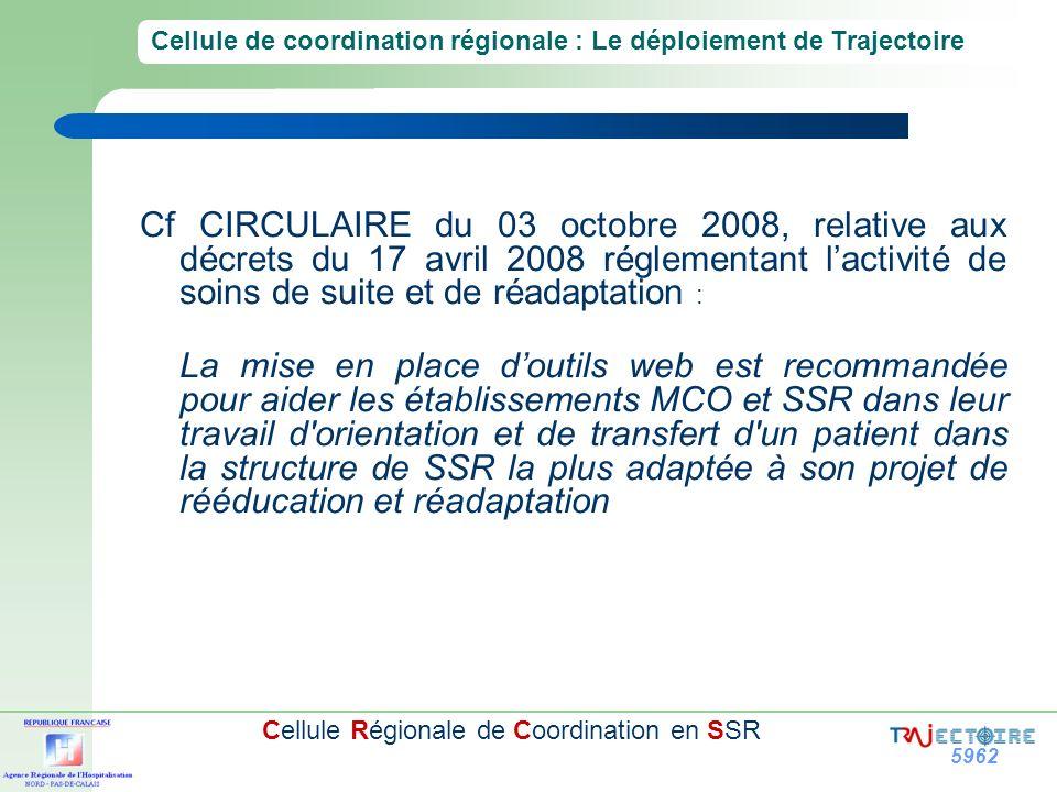 5962 Cellule Régionale de Coordination en SSR Cf CIRCULAIRE du 03 octobre 2008, relative aux décrets du 17 avril 2008 réglementant lactivité de soins