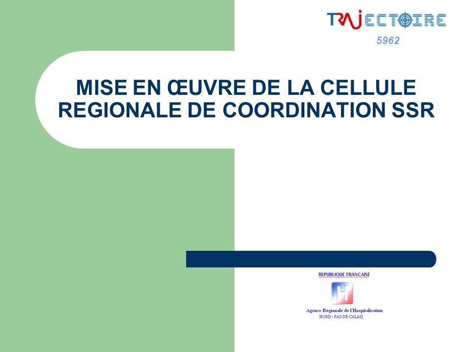 5962 Cellule Régionale de Coordination en SSR Historique Constitution dun groupe projet régional Nord Pas de Calais, début 2007 missionné par la Commission Régionale SSR Expérience de la Région Rhône Alpes.