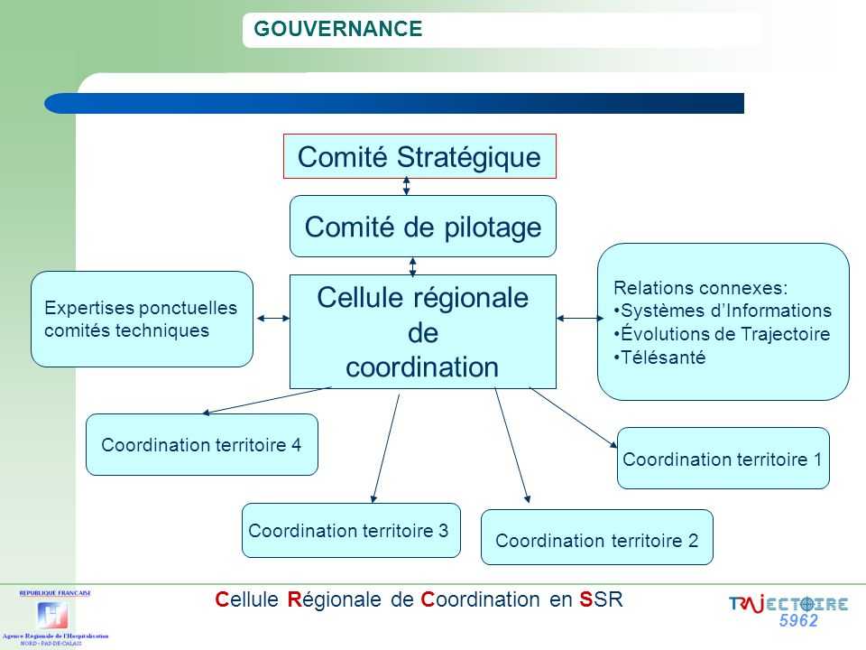 5962 Cellule Régionale de Coordination en SSR GOUVERNANCE : Comité stratégique Sous la présidence du directeur de lARH, ses missions consistent à: fixer et prioriser les orientations stratégiques; contrôler, suivre et valider les étapes clés du projet; promouvoir le dispositif de coordination 2 fois par an