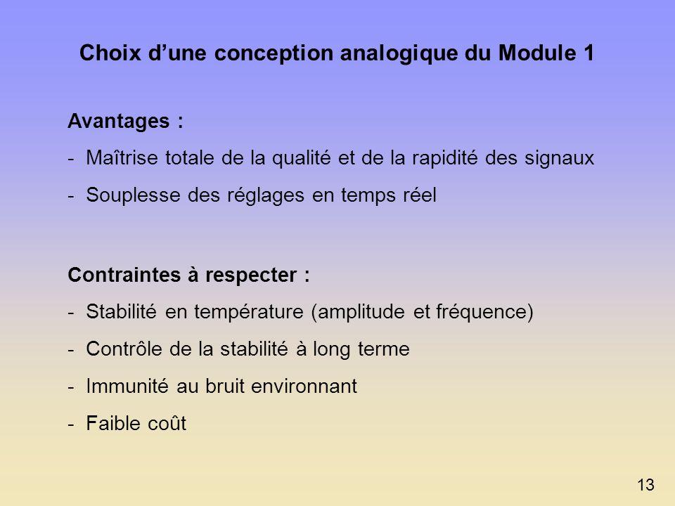 Fonctionnalités du prototype Module 1 Génération des signaux de commande Réglage de la vitesse de déplacement Sélection du sens de déplacement de l I