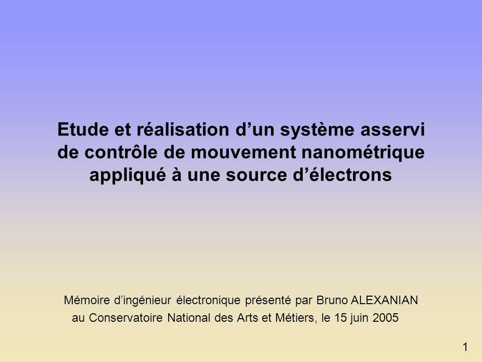 Etude et réalisation dun système asservi de contrôle de mouvement nanométrique appliqué à une source délectrons 1 Mémoire dingénieur électronique présenté par Bruno ALEXANIAN au Conservatoire National des Arts et Métiers, le 15 juin 2005