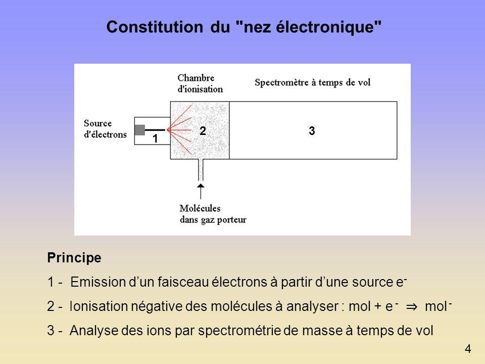 Constitution du nez électronique Principe 1 - Emission dun faisceau électrons à partir dune source e - 2 - Ionisation négative des molécules à analyser : mol + e - mol - 3 - Analyse des ions par spectrométrie de masse à temps de vol 4 1 23