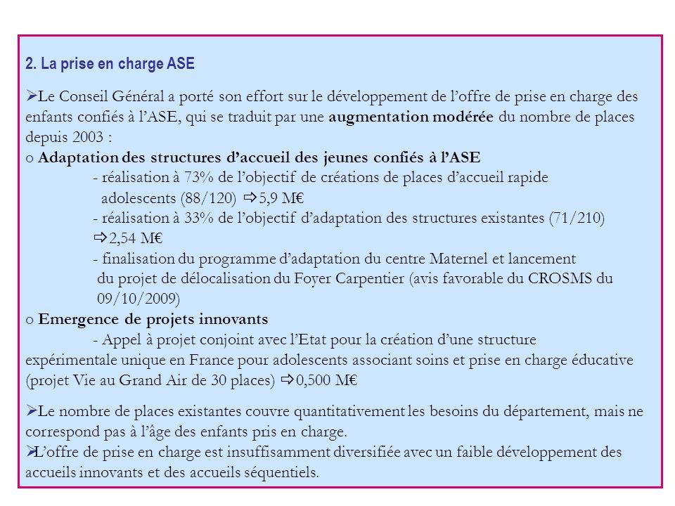 2. La prise en charge ASE Le Conseil Général a porté son effort sur le développement de loffre de prise en charge des enfants confiés à lASE, qui se t