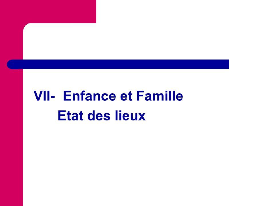 VII- Enfance et Famille Etat des lieux