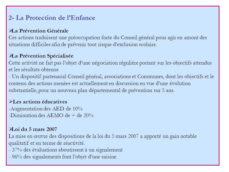 2- La Protection de lEnfance La Prévention Générale Ces actions traduisent une préoccupation forte du Conseil général pour agir en amont des situation