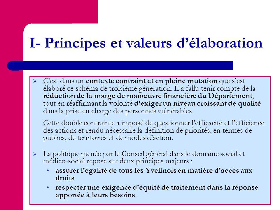 I- Principes et valeurs délaboration Cest dans un contexte contraint et en pleine mutation que sest élaboré ce schéma de troisième génération. Il a fa
