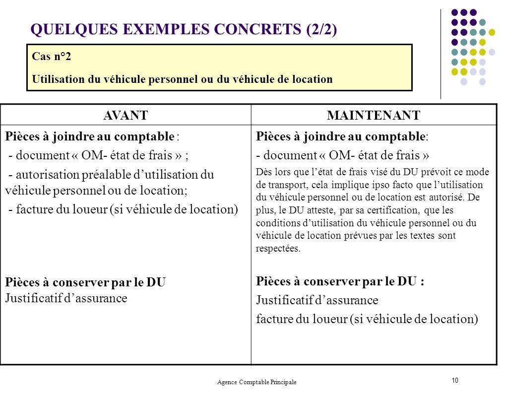 Agence Comptable Principale 10 QUELQUES EXEMPLES CONCRETS (2/2) AVANTMAINTENANT Pièces à joindre au comptable : - document « OM- état de frais » ; - a