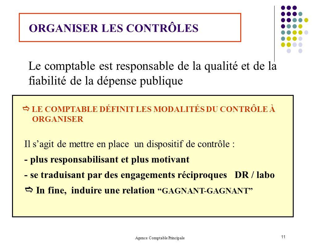 Agence Comptable Principale 11 Le comptable est responsable de la qualité et de la fiabilité de la dépense publique ORGANISER LES CONTRÔLES LE COMPTAB