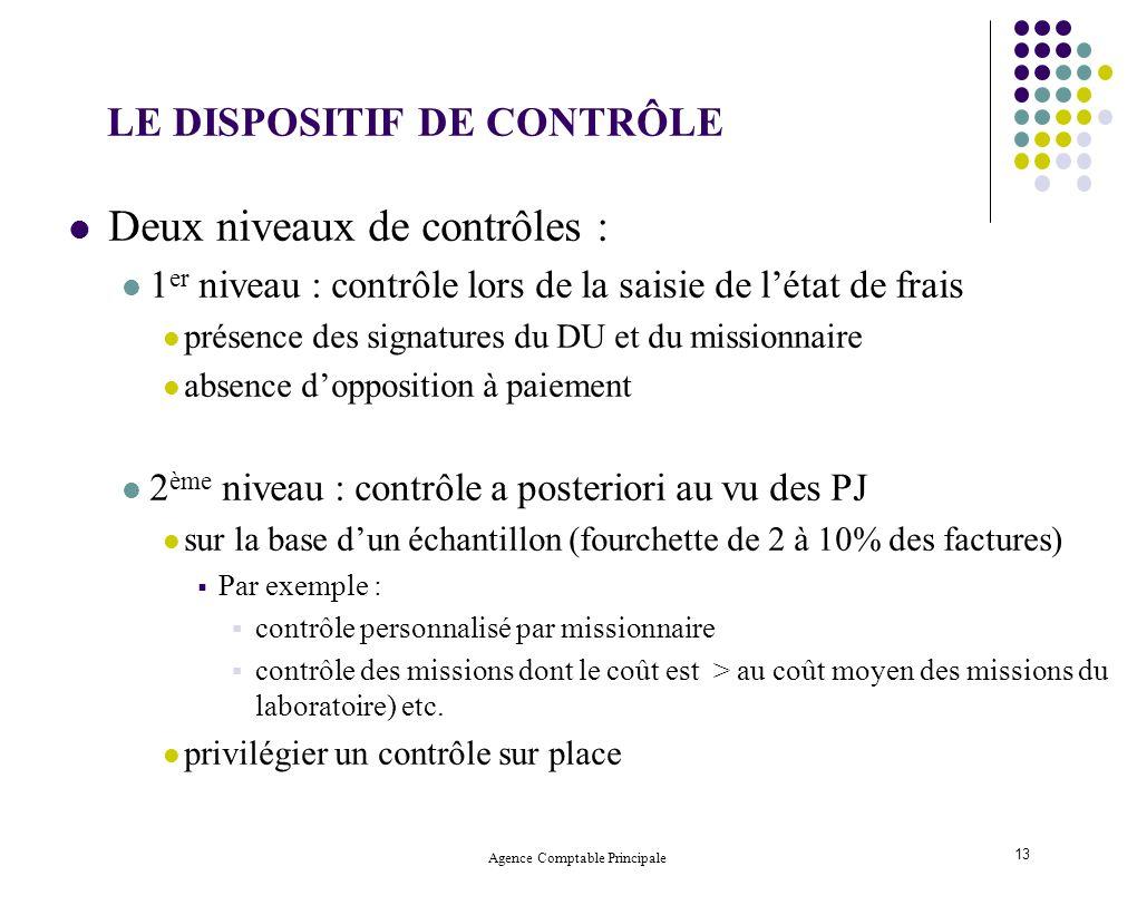 Agence Comptable Principale 13 Deux niveaux de contrôles : 1 er niveau : contrôle lors de la saisie de létat de frais présence des signatures du DU et