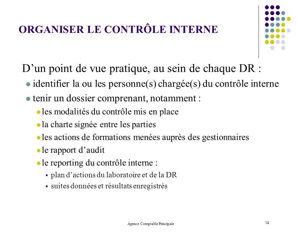 Agence Comptable Principale 14 Dun point de vue pratique, au sein de chaque DR : identifier la ou les personne(s) chargée(s) du contrôle interne tenir