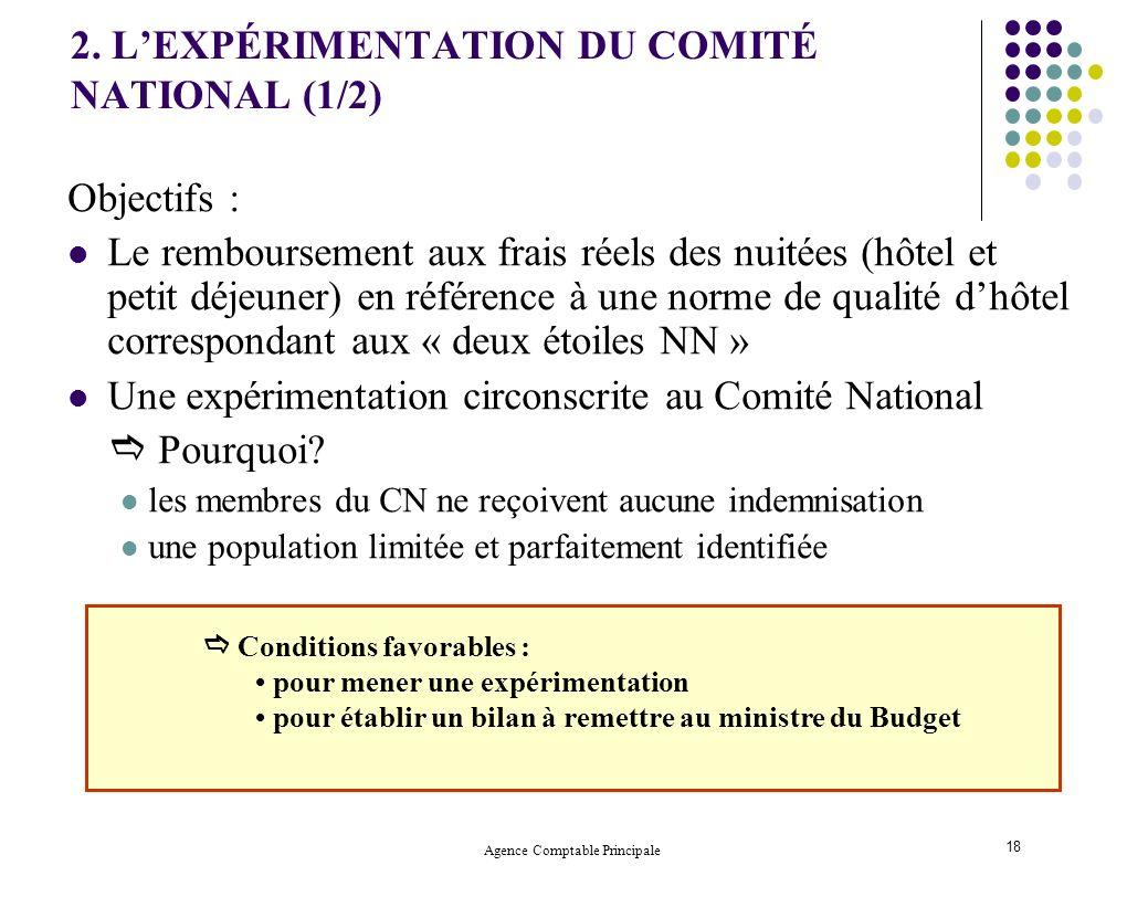 Agence Comptable Principale 18 2. LEXPÉRIMENTATION DU COMITÉ NATIONAL (1/2) Objectifs : Le remboursement aux frais réels des nuitées (hôtel et petit d