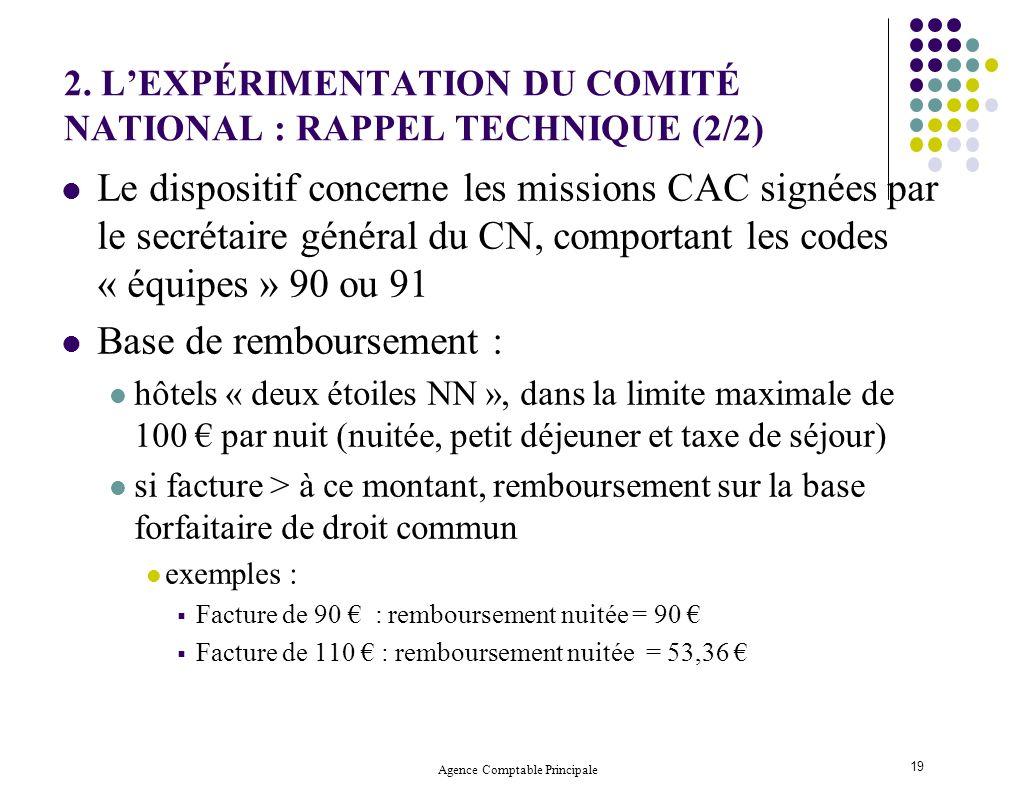 Agence Comptable Principale 19 2. LEXPÉRIMENTATION DU COMITÉ NATIONAL : RAPPEL TECHNIQUE (2/2) Le dispositif concerne les missions CAC signées par le