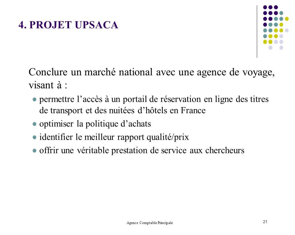 Agence Comptable Principale 21 4. PROJET UPSACA Conclure un marché national avec une agence de voyage, visant à : permettre laccès à un portail de rés
